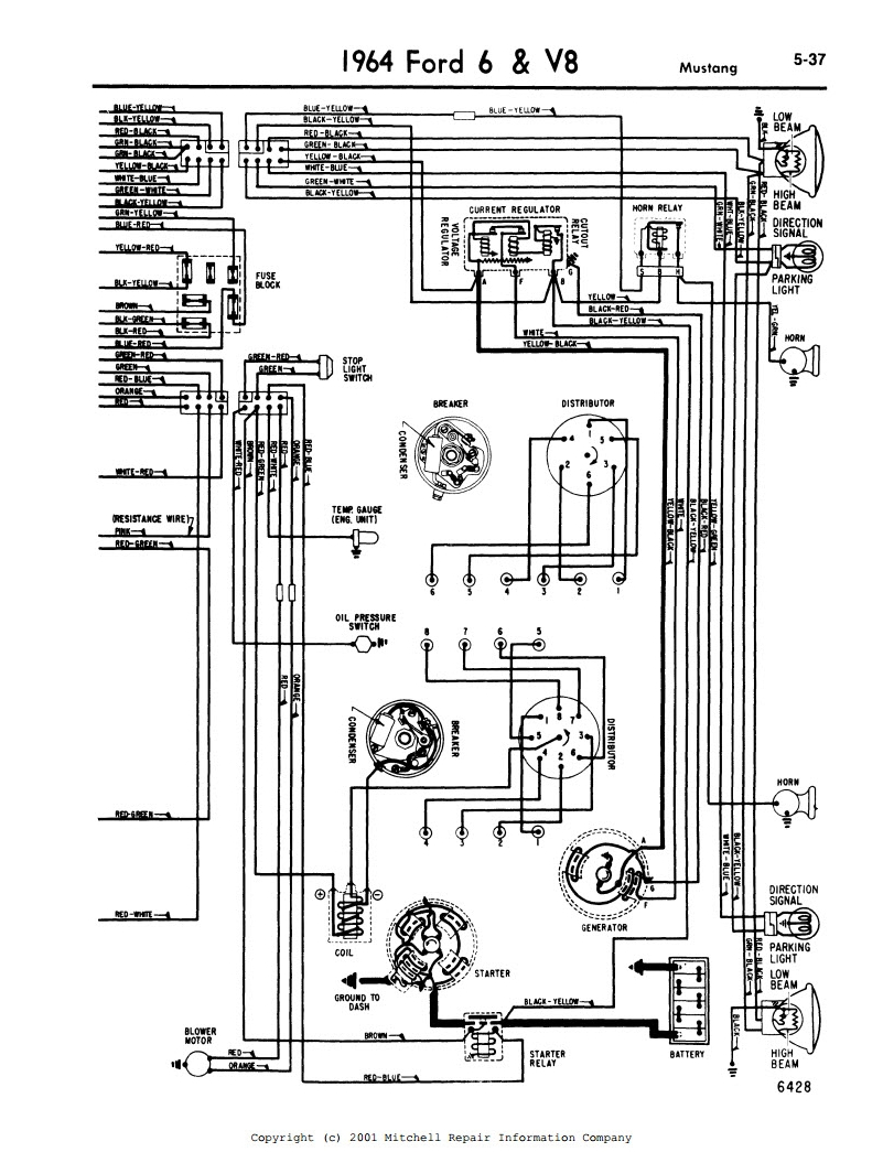 1964_MustangWiringDiagram2 throwback thursday good ol' wiring diagrams mitchell 1 old wiring diagram for emg preamp at gsmportal.co